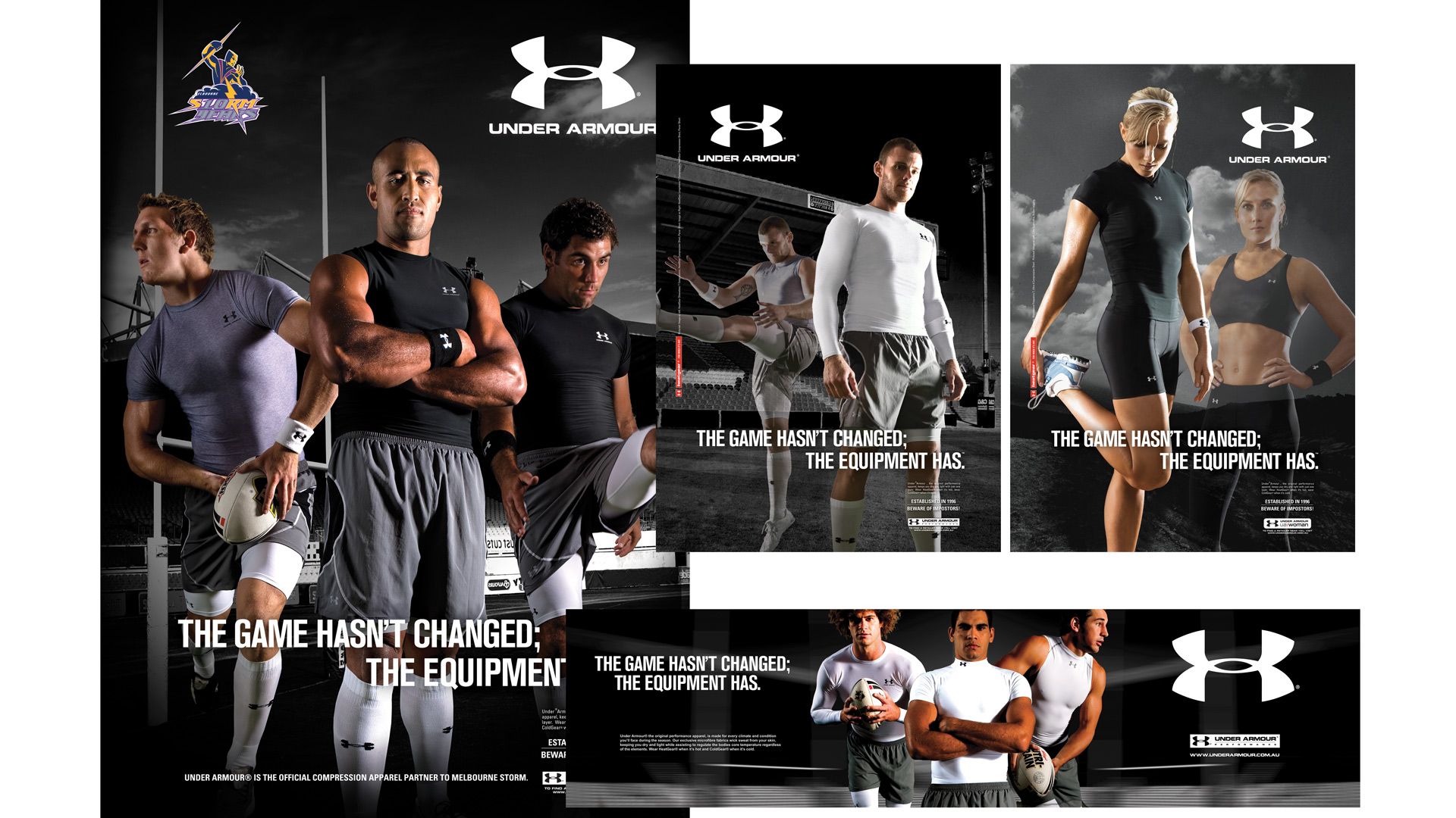 UNDER ARMOUR Publications Packaging Print Environmental Mlb Design Melbourne Storm Lindy Olsen Billy Slater